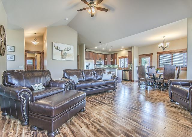 You are sure to enjoy relaxing in this beautiful, open kitchen / living area after a day in the mountains!
