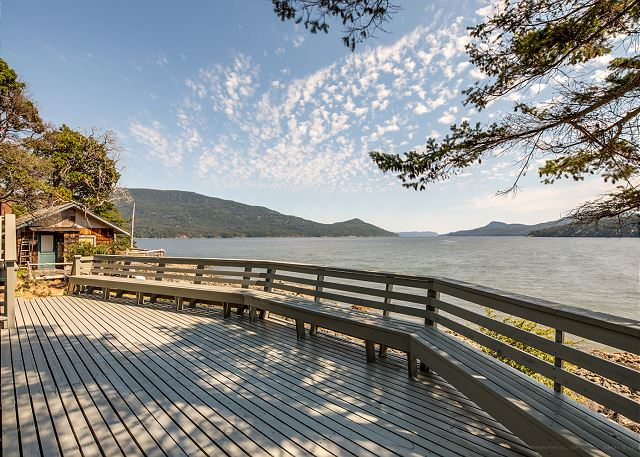 The large waterfront deck with wide open views of Eastsound.
