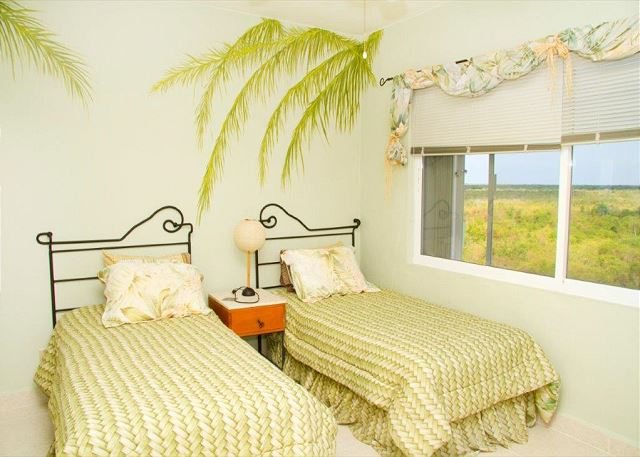 3rd bedroom has two twin beds and jungle view