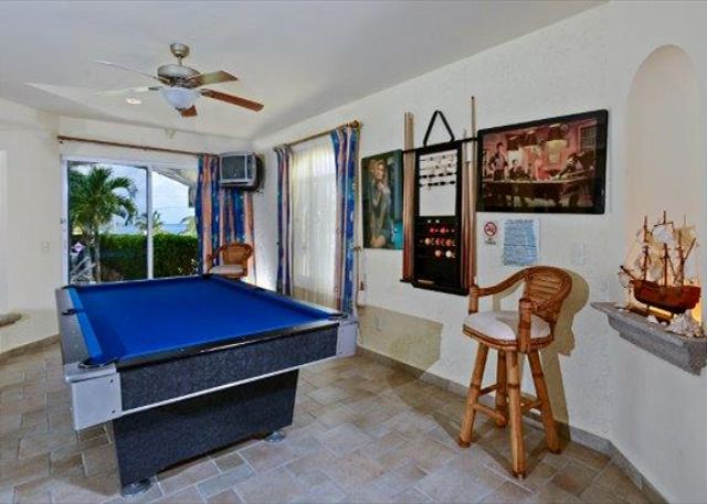 This villa boasts an oversize swimming pool, games room with Huge Flat Screen TV, billiard table, fully equipped exercise room and more.